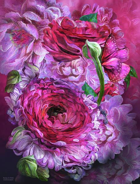Mixed Media - Peonies In Pinks by Carol Cavalaris