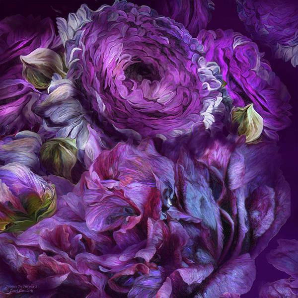 Mixed Media - Peonies In Purples  2 by Carol Cavalaris