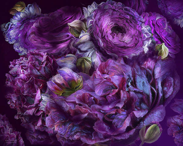 Mixed Media - Peonies In Purples by Carol Cavalaris