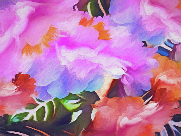 Mixed Media - Peonies On Zebra Leaves 5  by Lynda Lehmann