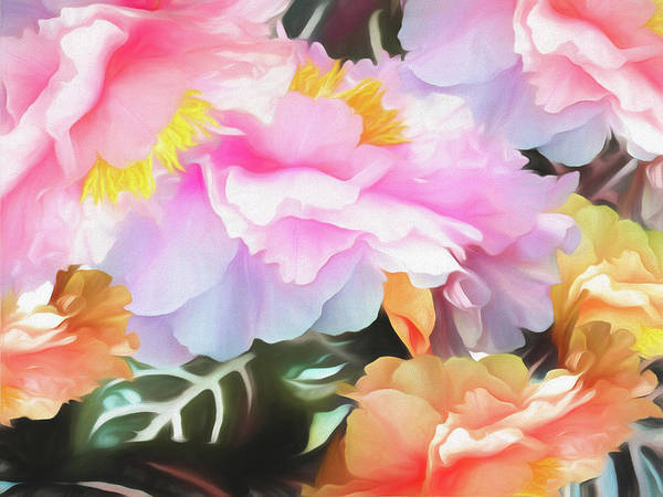 Mixed Media - Peonies On Zebra Leaves Soft by Lynda Lehmann