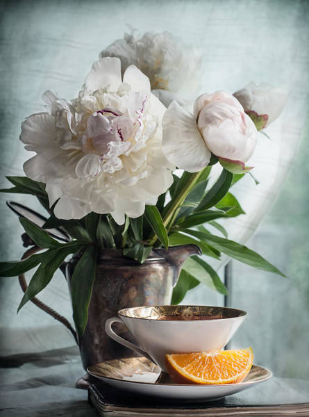 Photograph - Peonies Tea And Oranges by Maggie Terlecki
