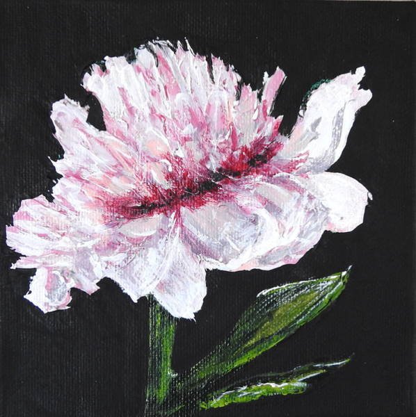 Single Leaf Mixed Media - Peony Bloom by Betty-Anne McDonald