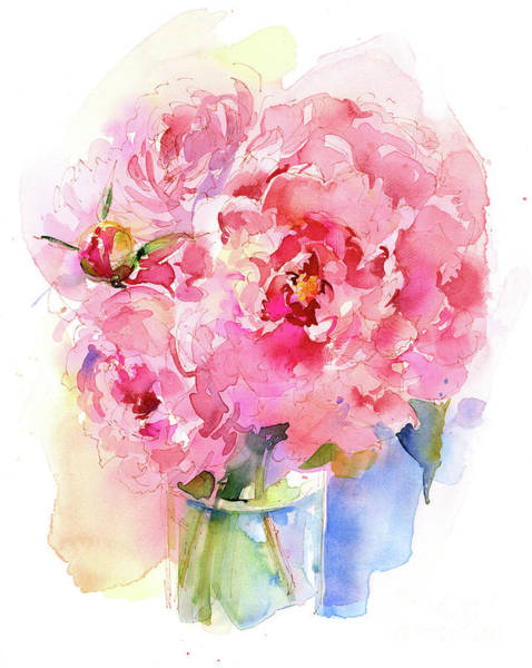 Containers Painting - Peony Bouquet by John Keeling