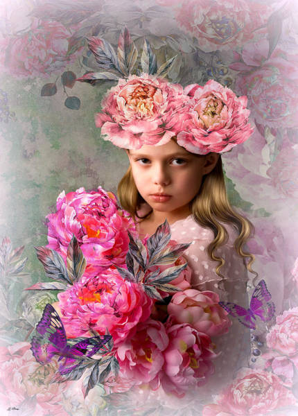 Botany Mixed Media - Peony Flower Child by G Berry