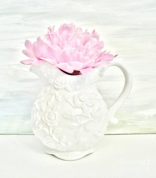 Peony In A Pitcher Art Print by Marsha Heiken