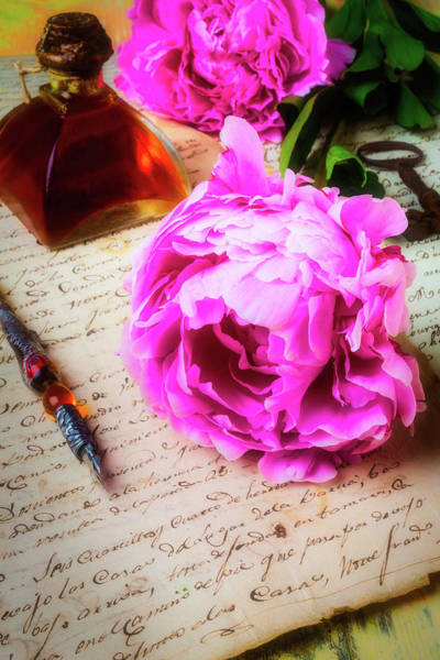 Wall Art - Photograph - Peony On Old Letter by Garry Gay
