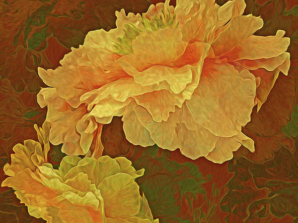 Gestural Digital Art - Peony Tapestry 10 by Lynda Lehmann