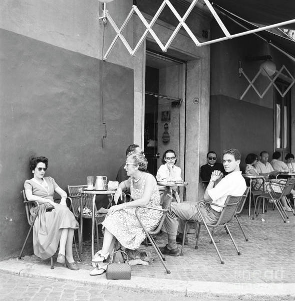 Wall Art - Photograph - People At A Street Cafe In Rome, 1955 by The Harrington Collection