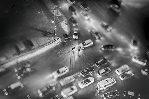 Photograph - Small Cars And Miniature People At Night by John Williams
