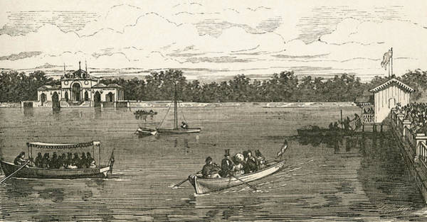 Spanish People Drawing - People Boating On The Lake In The by Vintage Design Pics