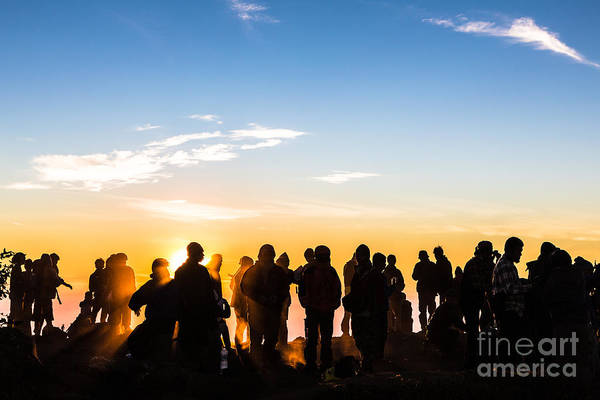 Photograph - People Enjoys The Sunrise On The Top Of Merbabu Volcano In Indon by Didier Marti