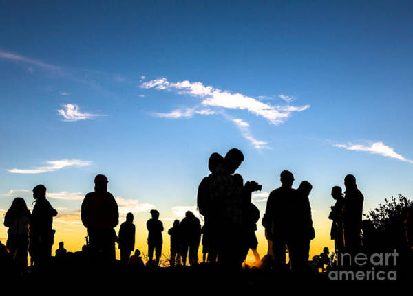Photograph - People Enjoys The Sunrise On The Top Of Merbabu Volcano Near Yogyakarta In Java  In Indonesia by Didier Marti