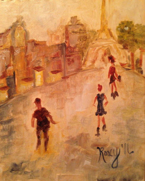 Wine Painting - People In Paris by Roxy Rich