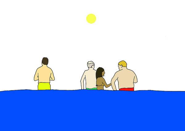 Paddle Digital Art - People In Pool by Olivia Domingos