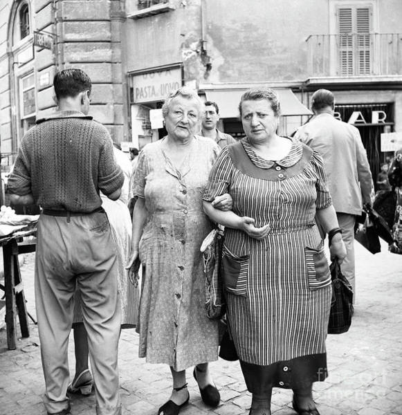 Wall Art - Photograph - People On A Busy Street In Rome, 1955 by The Harrington Collection