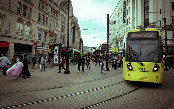 Greater Manchester Wall Art - Photograph - People Shopping Manchester Uk by Michalakis Ppalis
