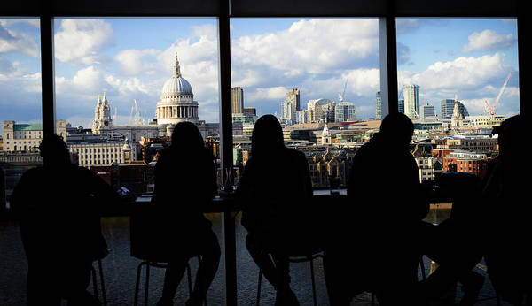 Photograph - People Sitting In A Cafe At Tate With A View Onto St Paul's Cathedral by Alexandre Rotenberg