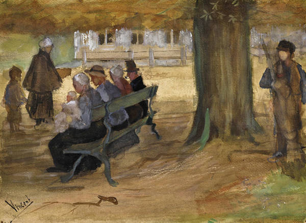 Impressionistic Drawing - People Sitting On A Bench In Bezuidenhout. The Hague by Vincent van Gogh