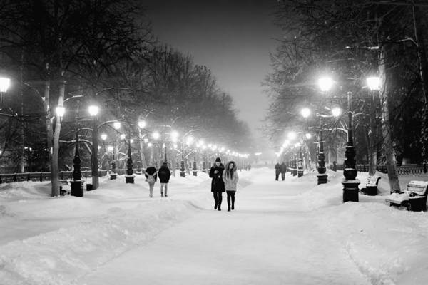 Photograph - People Walking At Night In Snow by John Williams