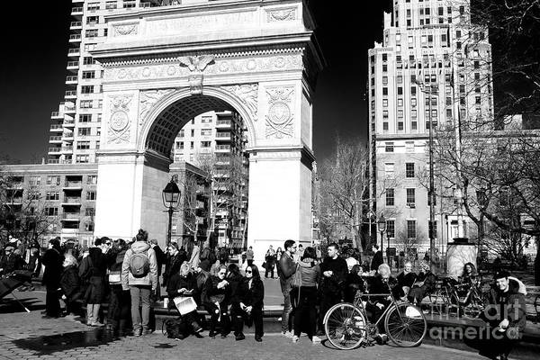 Photograph - People Watching At Washing Square Park by John Rizzuto