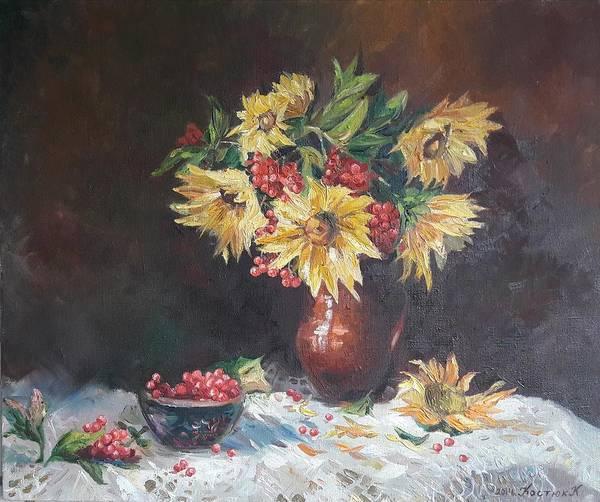 Wall Art - Painting -  Still-life With Sunflowers by Kateryna Kostiuk-Shostka