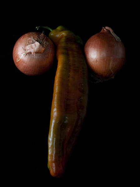 Vegetal Photograph - Pepper And Onions by Felix M Cobos