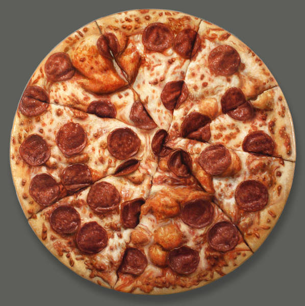 Painting - Pepperoni Pizza by James W Johnson