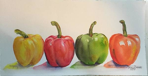 Painting - Peppers Four by Diane Ziemski