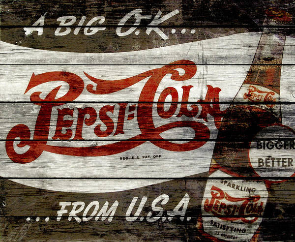 Wall Art - Mixed Media - Pepsi Cola Vintage Sign 4a by Brian Reaves