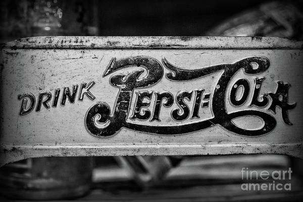 Wall Art - Photograph - Pepsi Double Dot Metal Carrier Close Up In Black And White by Paul Ward