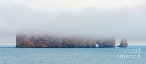 Photograph - Perce Rock In Fog by Les Palenik