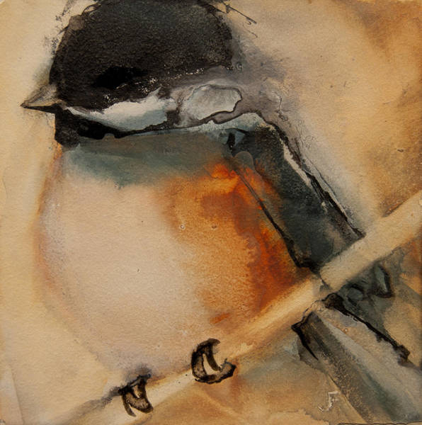 Painting - Perched Chickadee 2 by Jani Freimann