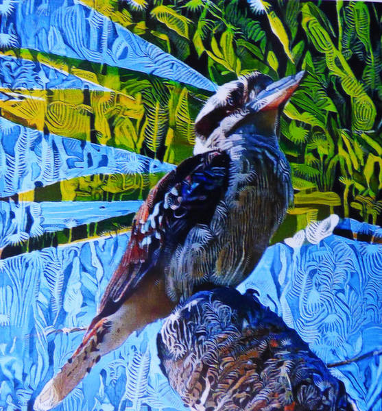 Queensland Digital Art - Perching Kookaburra by Trudee Hunter