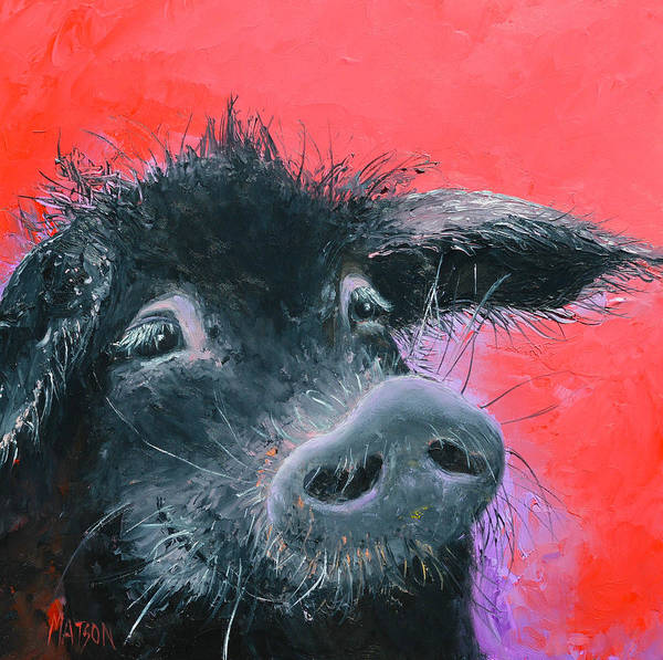 Pig Painting - Percival The Black Pig by Jan Matson