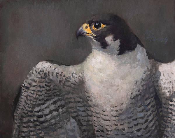 Painting - Peregrine Falcon by Attila Meszlenyi