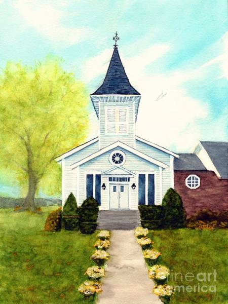 Country Wedding Painting - Perfect Day - Um Country Church South Canaan Pa by Janine Riley