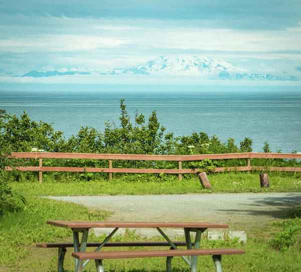 Mount Redoubt Photograph - Perfect Picnic Spot by Edie Ann Mendenhall