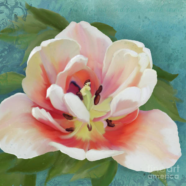 Full Bloom Painting - Perfection - Single Tulip Blossom by Audrey Jeanne Roberts