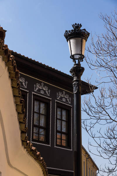 Photograph - Perfectly Aligned - Intricate Ironwork Streetlight And Classic Revival House by Georgia Mizuleva