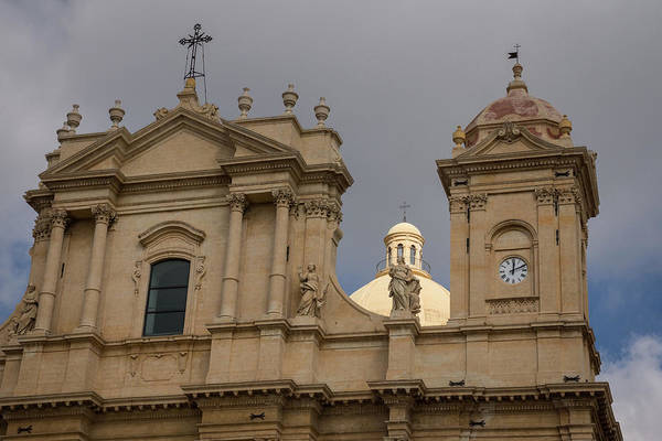 Photograph - Perfectly Placed Ray Of Sunshine - Noto Cathedral Saint Nicholas Of Myra Sunlit Dome by Georgia Mizuleva