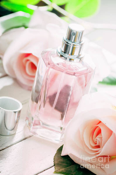Perfume Photograph - Perfume Bottle And Pink Roses.  by Jelena Jovanovic