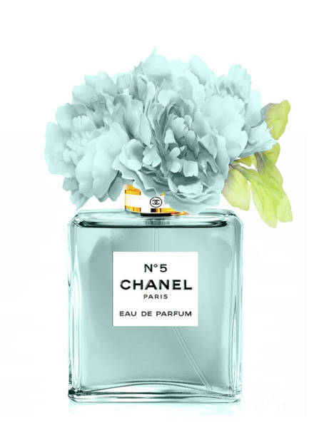 Chanel Mixed Media - Perfume N.5 With Peony by Green Palace
