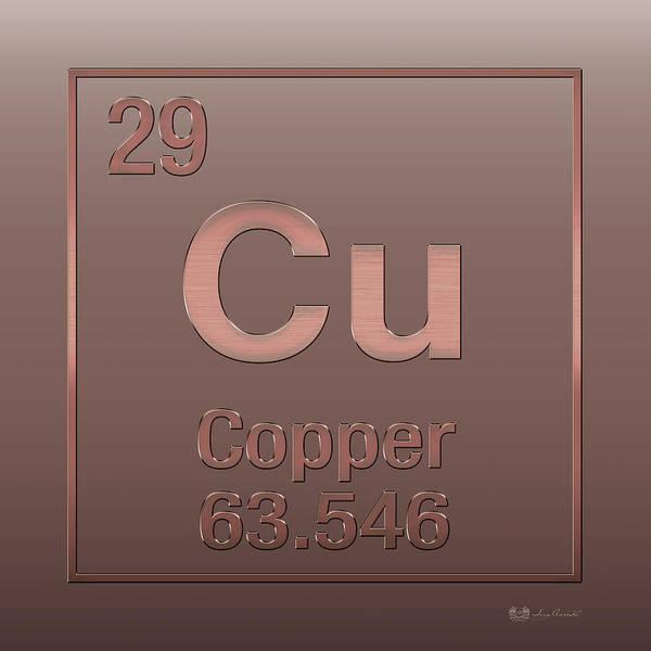 Periodic Table Of Elements - Copper - Cu - Copper On Copper Art Print