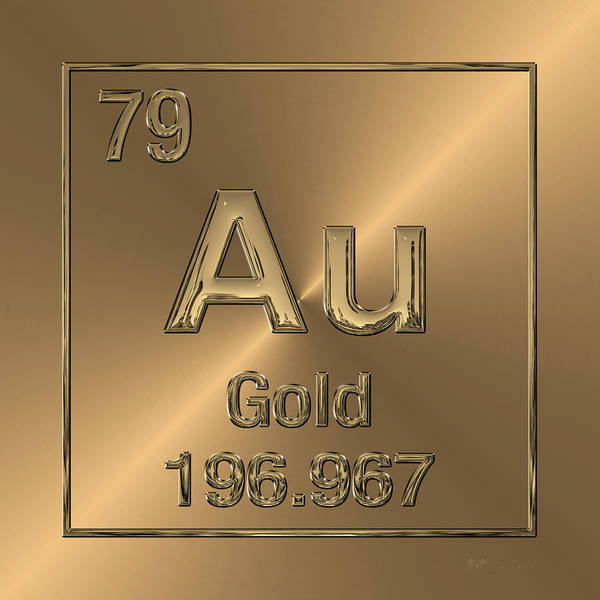 Digital Art - Periodic Table Of Elements - Gold - Au by Serge Averbukh