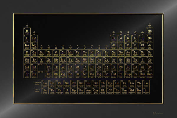 Digital Art - Periodic Table Of Elements - Gold On Black Metal by Serge Averbukh