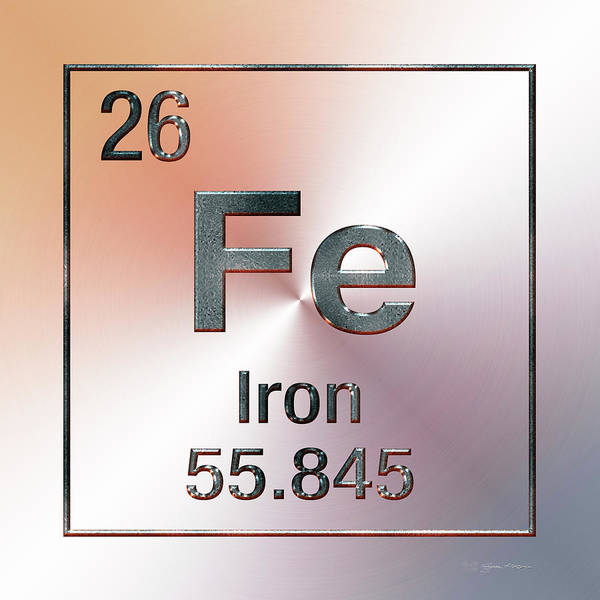 Digital Art - Periodic Table Of Elements - Iron Fe by Serge Averbukh