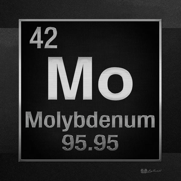 Digital Art - Periodic Table Of Elements - Molybdenum - Mo - On Black by Serge Averbukh