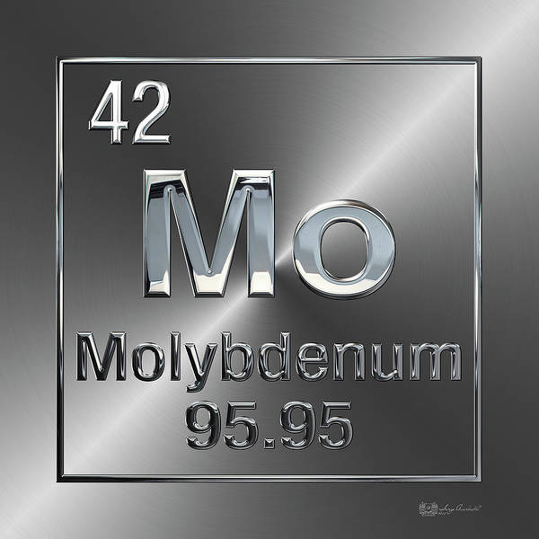 Digital Art - Periodic Table Of Elements - Molybdenum - Mo by Serge Averbukh