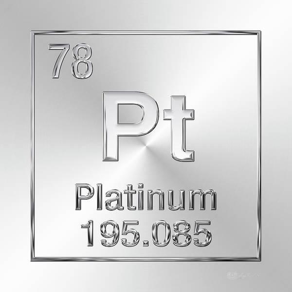 Digital Art - Periodic Table Of Elements - Platinum - Pt by Serge Averbukh
